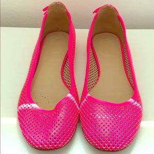 J. Crew neon pink leather mesh ballet flats